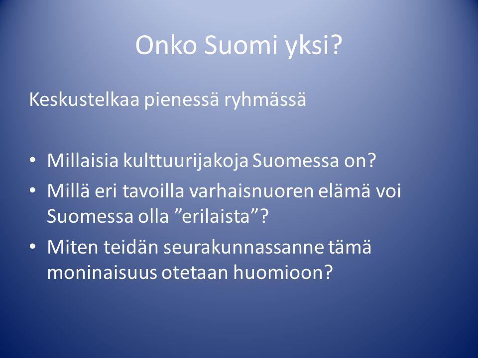 Onko Suomi yksi Keskustelkaa pienessä ryhmässä