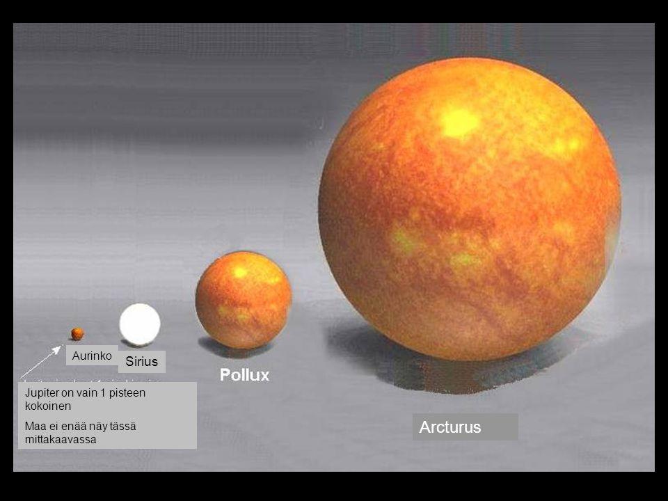 Arcturus Sirius Aurinko Jupiter on vain 1 pisteen kokoinen