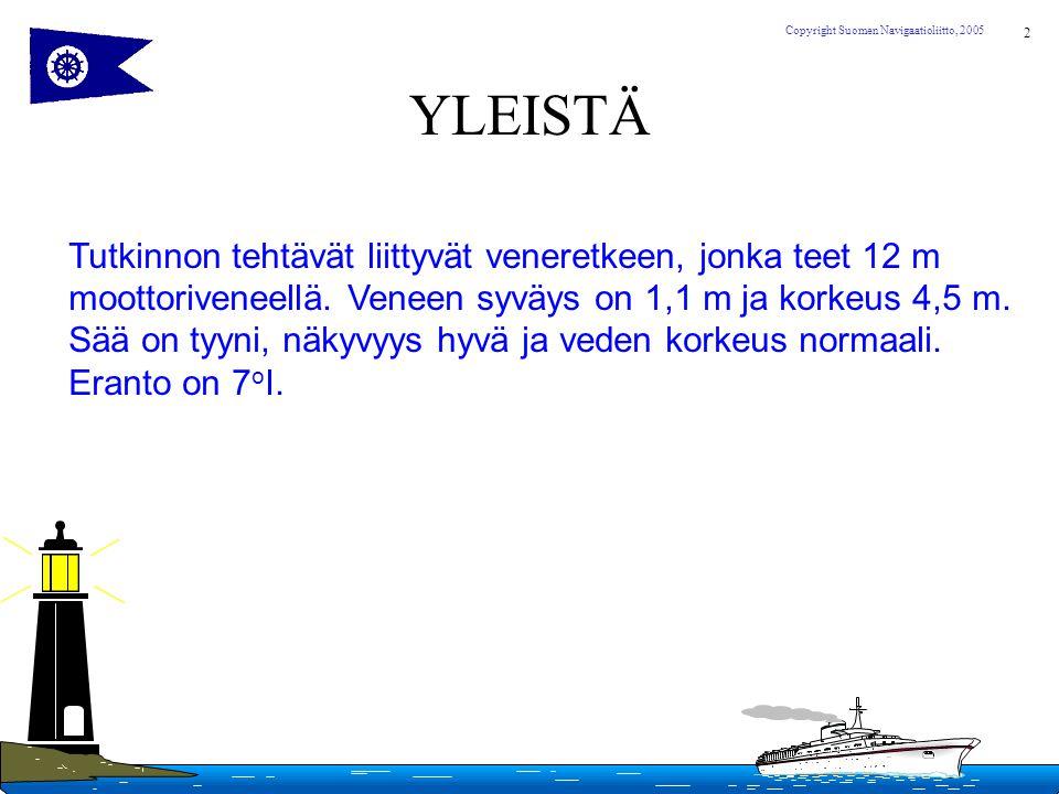 YLEISTÄ Tutkinnon tehtävät liittyvät veneretkeen, jonka teet 12 m