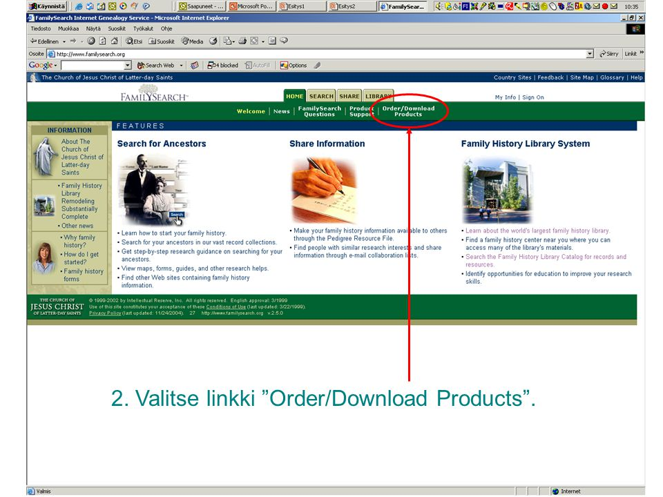 2. Valitse linkki Order/Download Products .