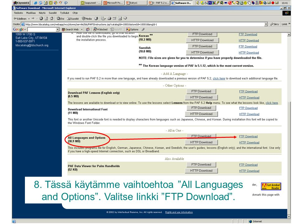 8. Tässä käytämme vaihtoehtoa All Languages and Options