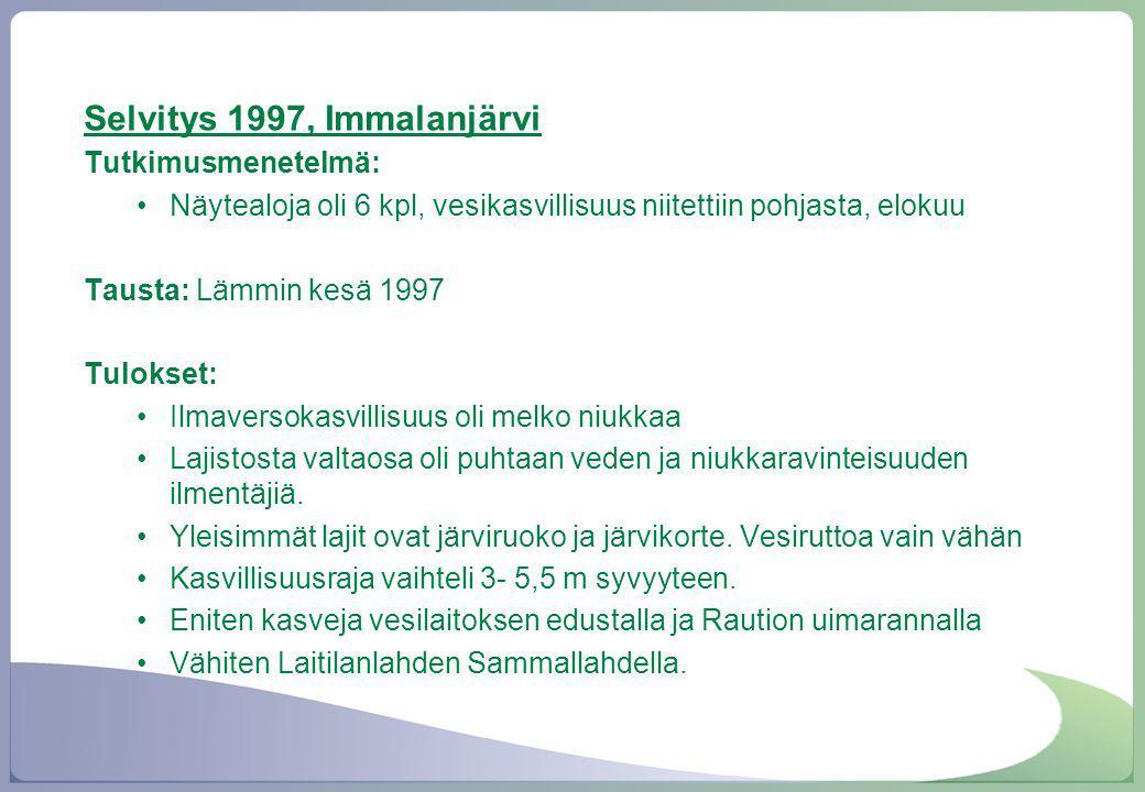 Selvitys 1997, Immalanjärvi