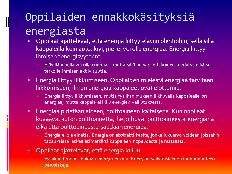 Oppilaiden ennakkokäsityksiä energiasta