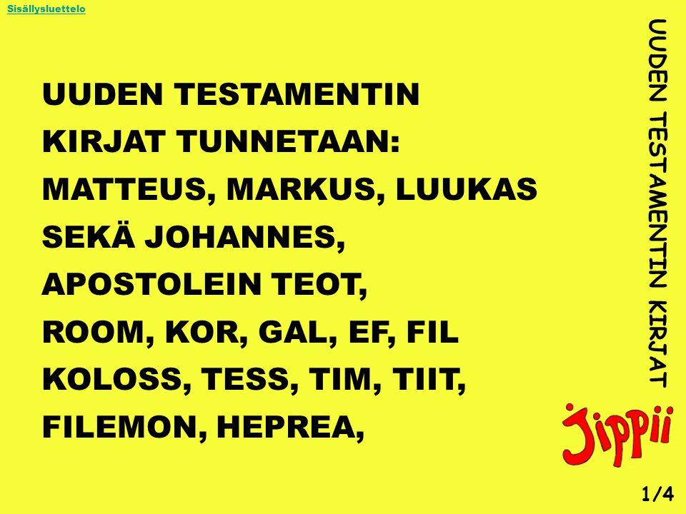 UUDEN TESTAMENTIN KIRJAT TUNNETAAN: MATTEUS, MARKUS, LUUKAS