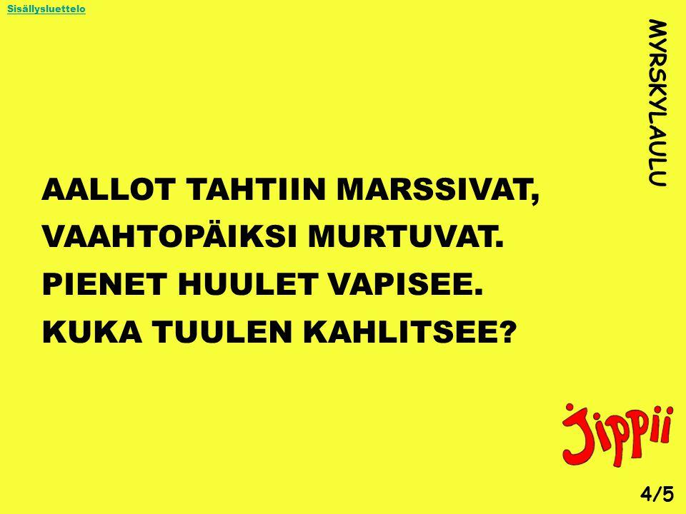 AALLOT TAHTIIN MARSSIVAT, VAAHTOPÄIKSI MURTUVAT.