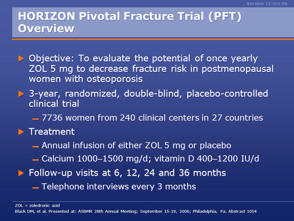 HORIZON Pivotal Fracture Trial (PFT) Overview
