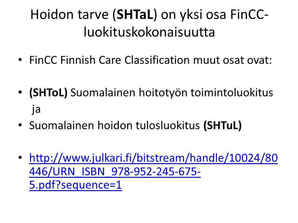 Hoidon tarve (SHTaL) on yksi osa FinCC-luokituskokonaisuutta