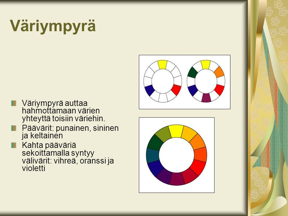 Väriympyrä Väriympyrä auttaa hahmottamaan värien yhteyttä toisiin väriehin. Päävärit: punainen, sininen ja keltainen.
