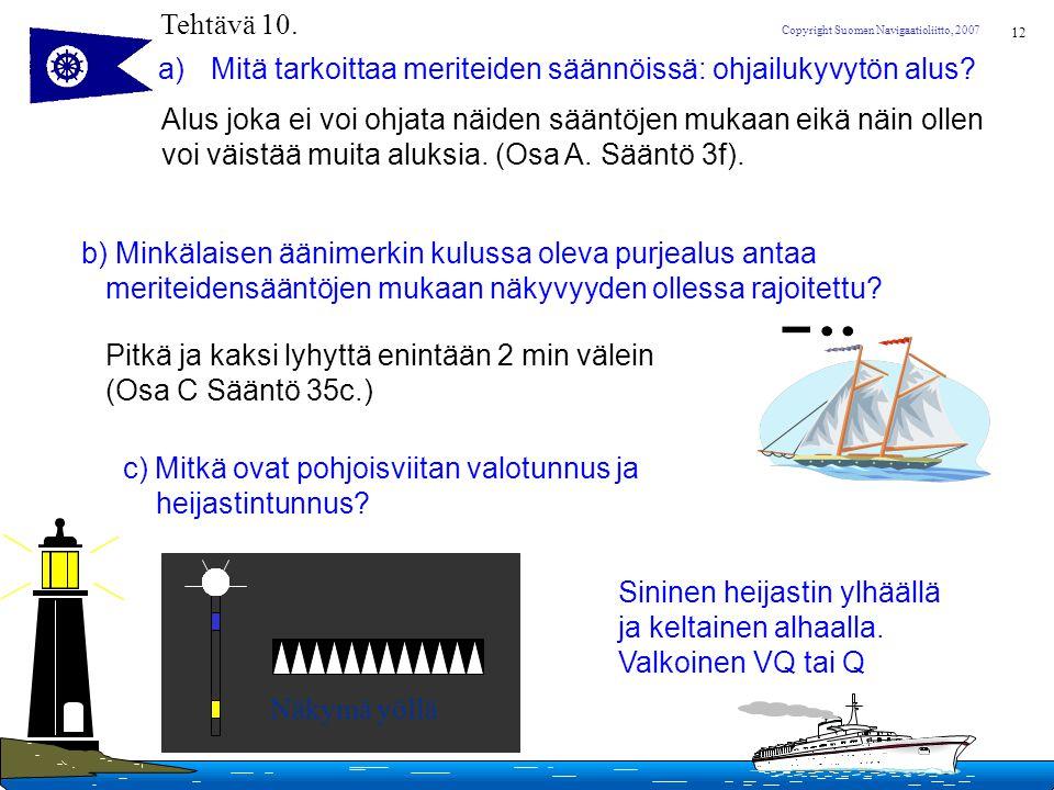 Tehtävä 10. Mitä tarkoittaa meriteiden säännöissä: ohjailukyvytön alus Alus joka ei voi ohjata näiden sääntöjen mukaan eikä näin ollen.