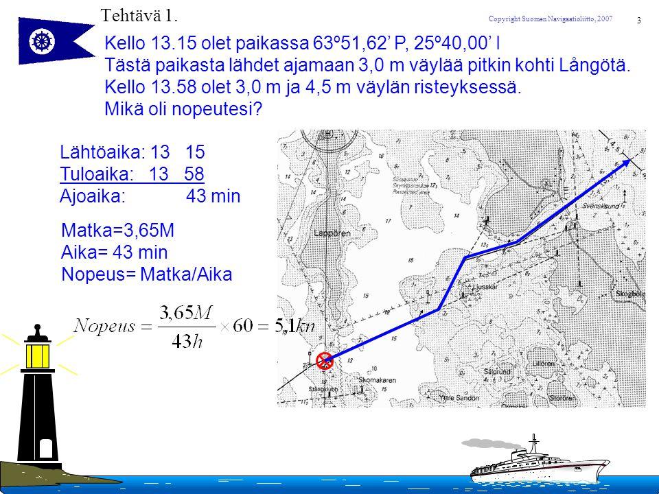 Tehtävä 1. Kello 13.15 olet paikassa 63º51,62' P, 25º40,00' I. Tästä paikasta lähdet ajamaan 3,0 m väylää pitkin kohti Långötä.