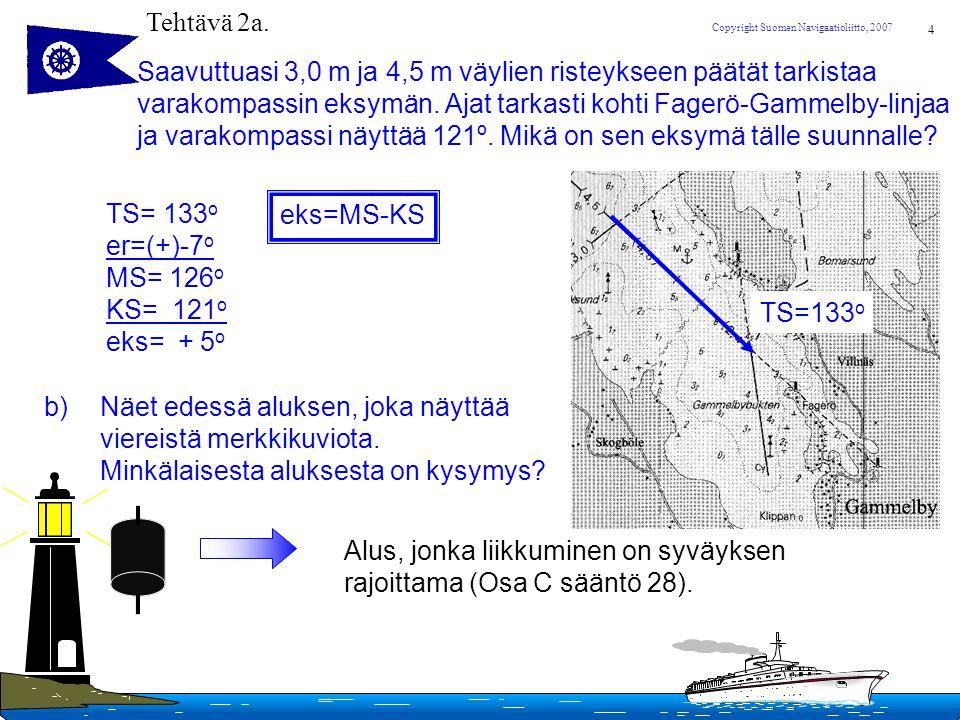 Tehtävä 2a. Saavuttuasi 3,0 m ja 4,5 m väylien risteykseen päätät tarkistaa. varakompassin eksymän. Ajat tarkasti kohti Fagerö-Gammelby-linjaa.