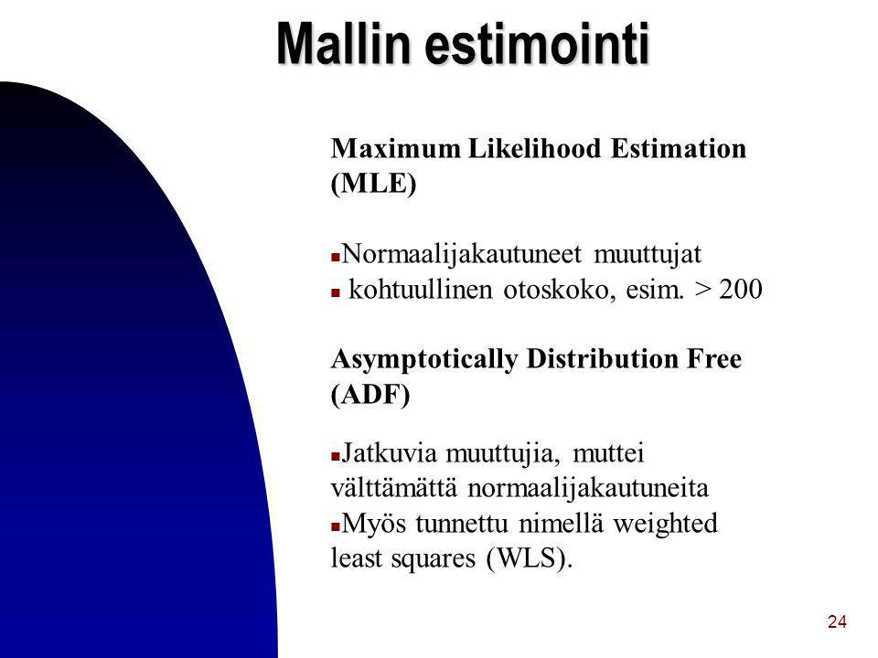 Mallin estimointi Maximum Likelihood Estimation (MLE)