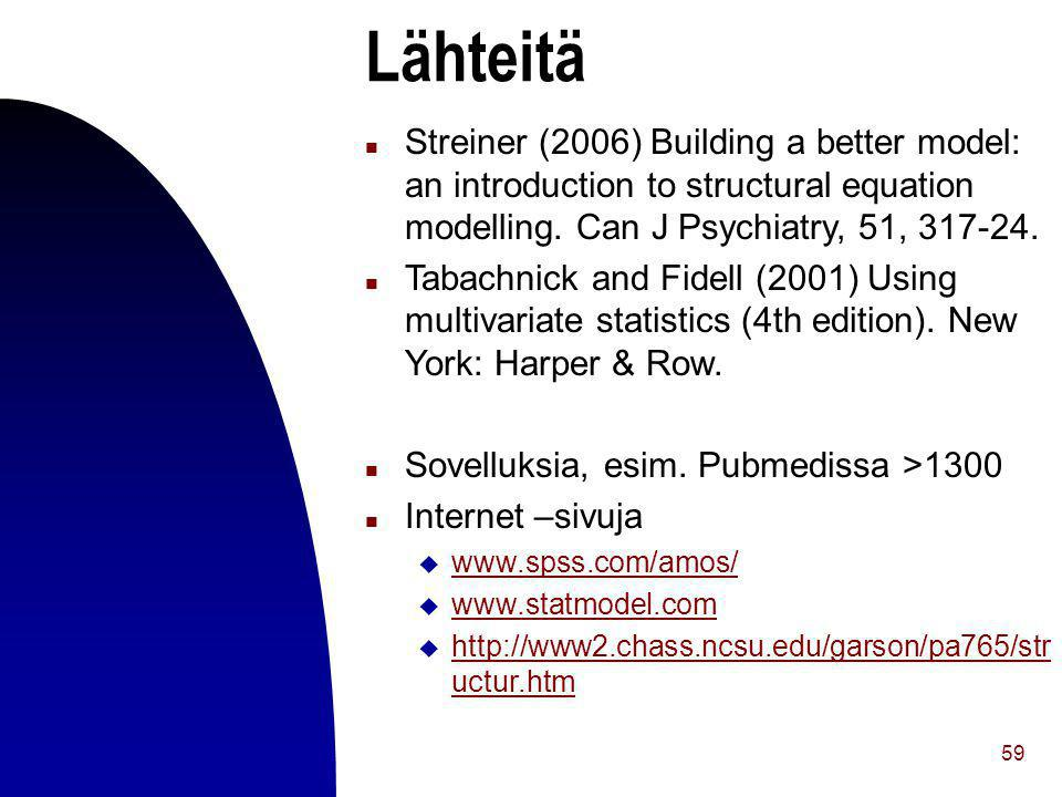 Lähteitä Streiner (2006) Building a better model: an introduction to structural equation modelling. Can J Psychiatry, 51,