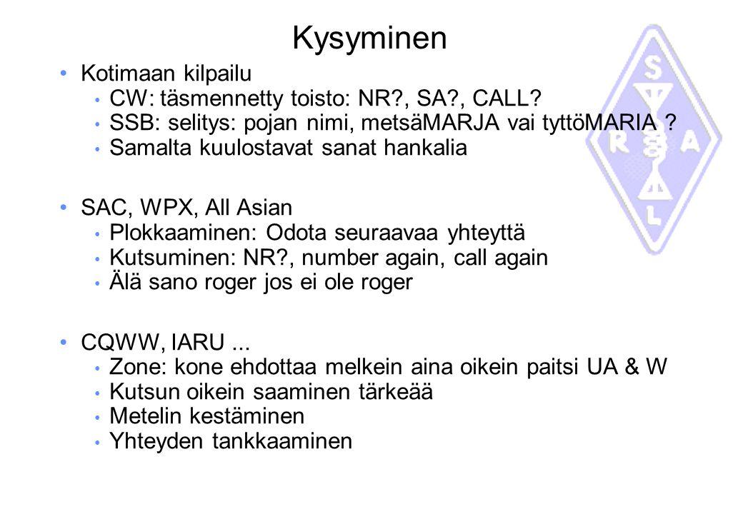 Kysyminen Kotimaan kilpailu CW: täsmennetty toisto: NR , SA , CALL