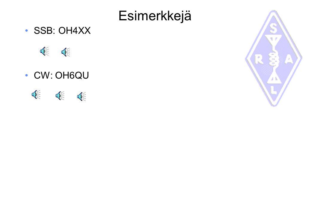 Esimerkkejä SSB: OH4XX CW: OH6QU