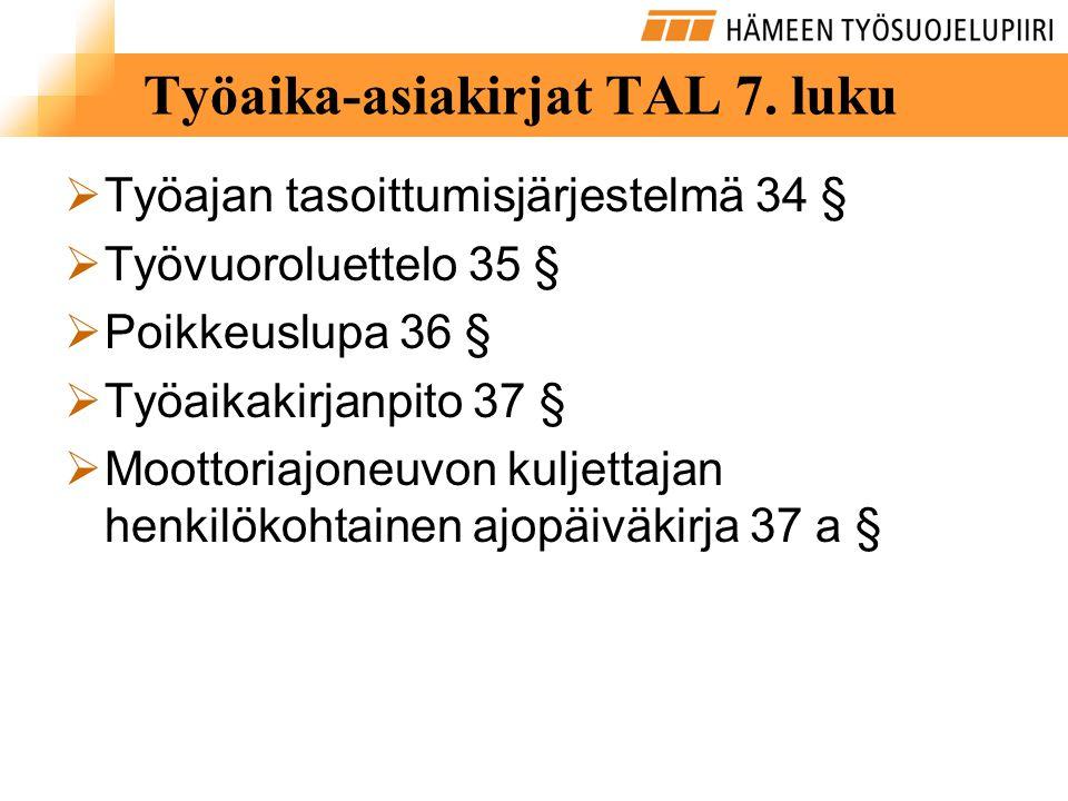 Työaika-asiakirjat TAL 7. luku