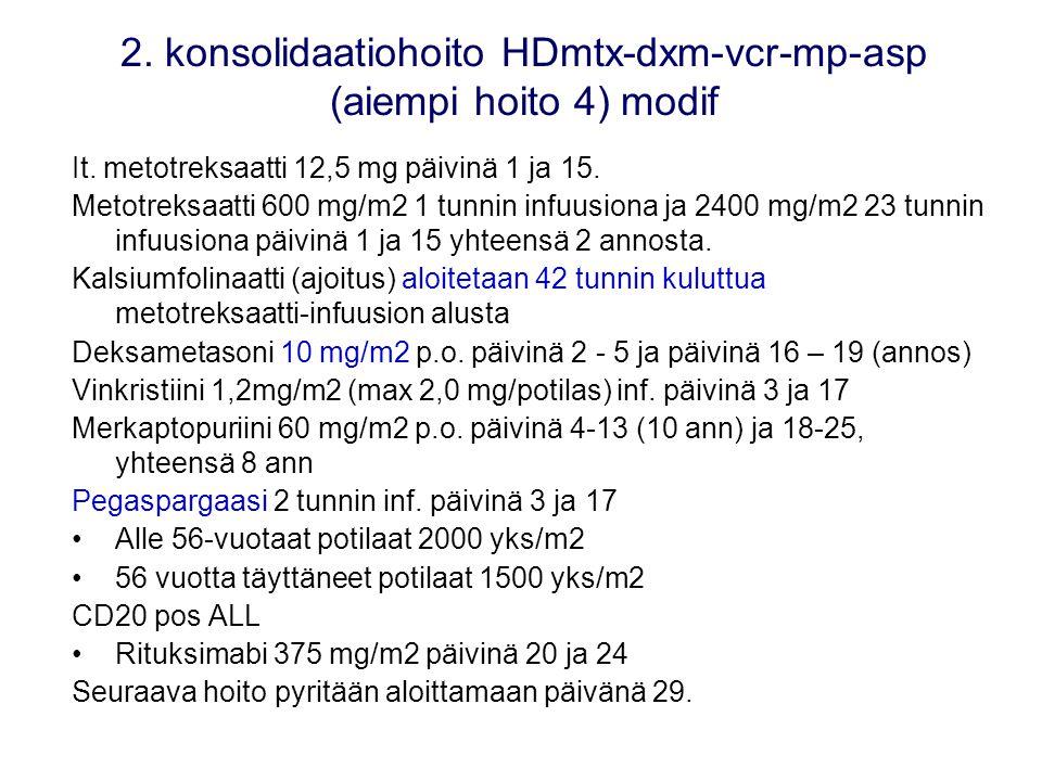 2. konsolidaatiohoito HDmtx-dxm-vcr-mp-asp (aiempi hoito 4) modif
