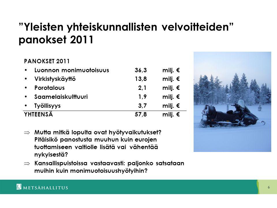 Yleisten yhteiskunnallisten velvoitteiden panokset 2011