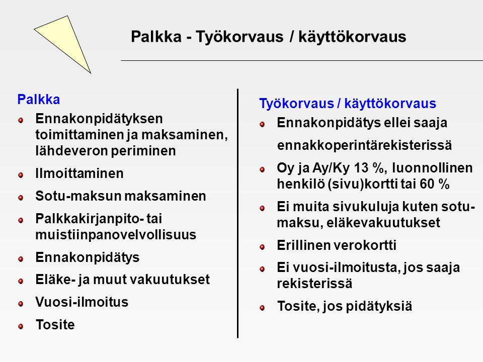 Palkka - Työkorvaus / käyttökorvaus