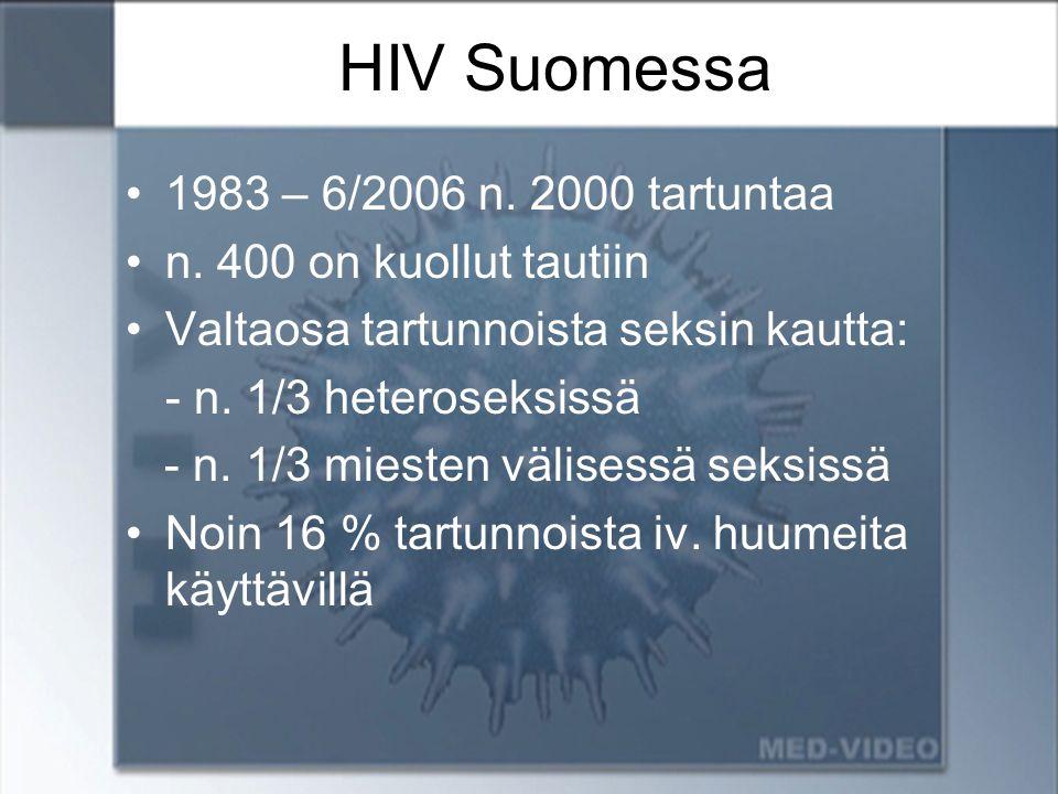 HIV Suomessa 1983 – 6/2006 n. 2000 tartuntaa n. 400 on kuollut tautiin