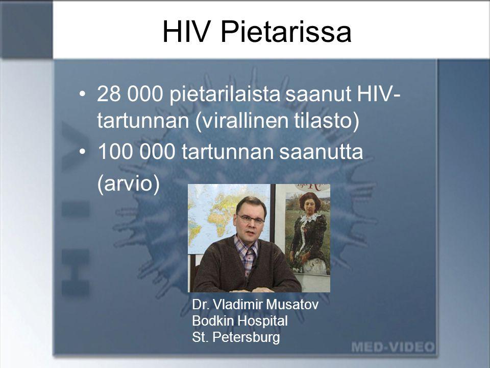 HIV Pietarissa 28 000 pietarilaista saanut HIV-tartunnan (virallinen tilasto) 100 000 tartunnan saanutta.