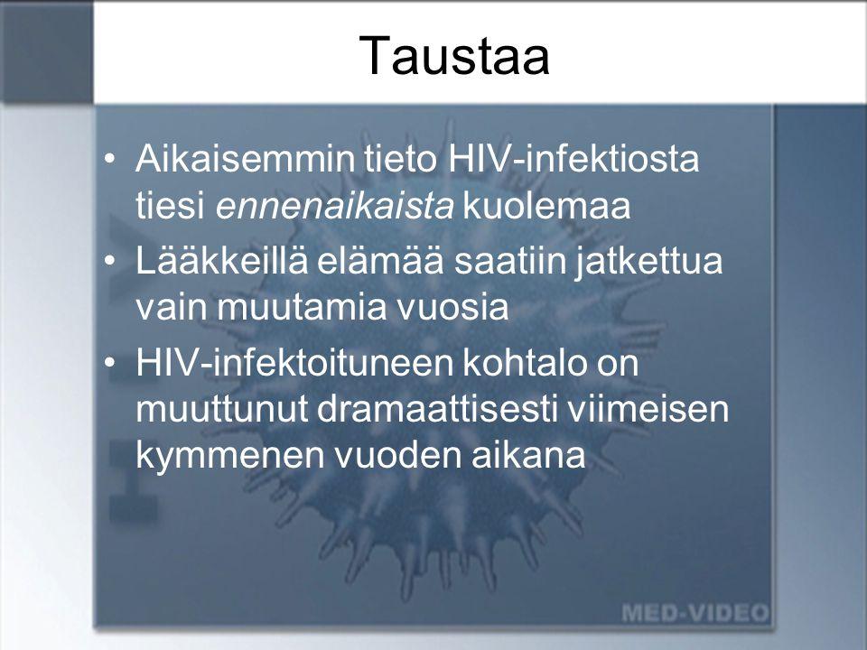 Taustaa Aikaisemmin tieto HIV-infektiosta tiesi ennenaikaista kuolemaa
