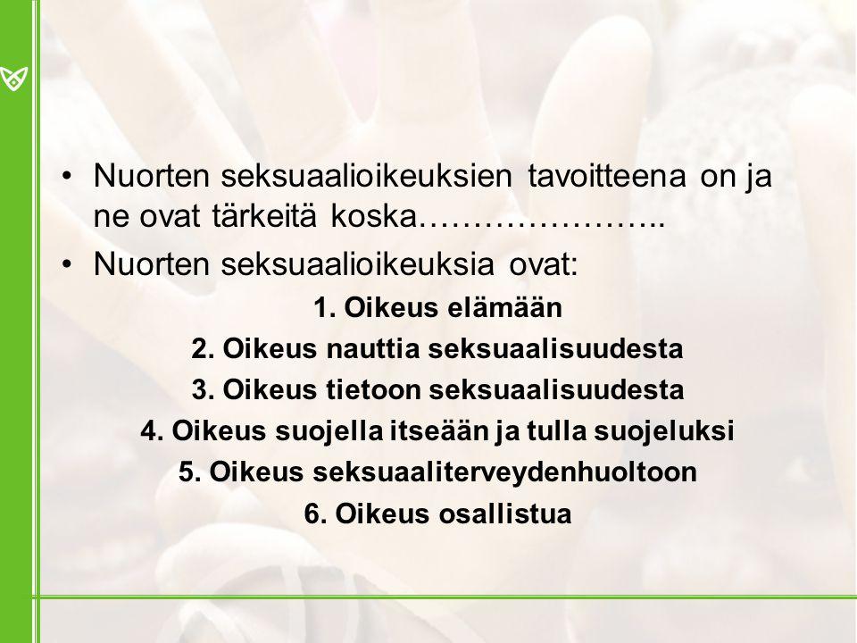 Nuorten seksuaalioikeuksia ovat: