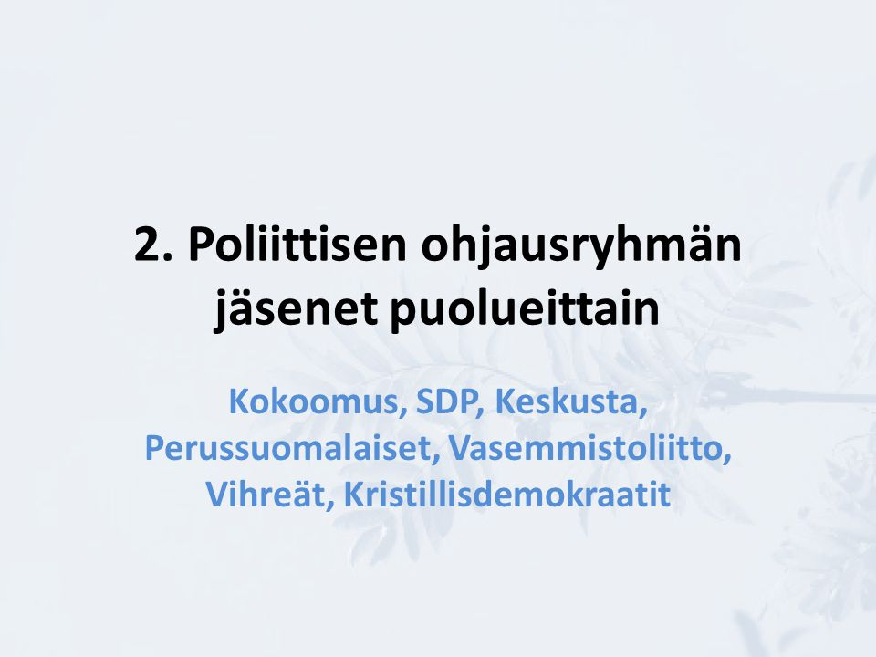 2. Poliittisen ohjausryhmän jäsenet puolueittain