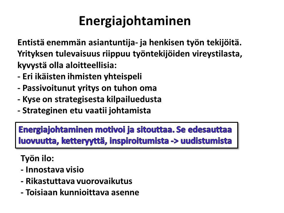 Energiajohtaminen Entistä enemmän asiantuntija- ja henkisen työn tekijöitä.