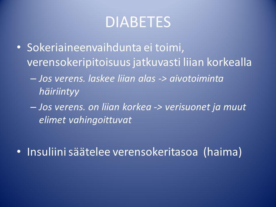 DIABETES Sokeriaineenvaihdunta ei toimi, verensokeripitoisuus jatkuvasti liian korkealla. Jos verens. laskee liian alas -> aivotoiminta häiriintyy.