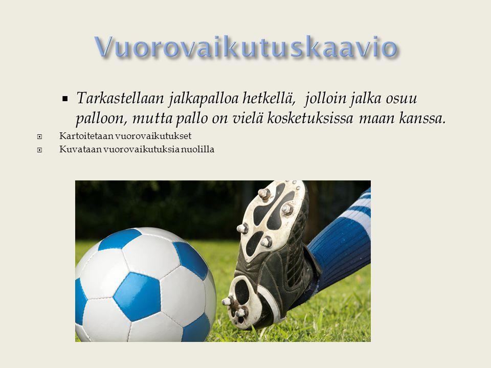 Vuorovaikutuskaavio Tarkastellaan jalkapalloa hetkellä, jolloin jalka osuu palloon, mutta pallo on vielä kosketuksissa maan kanssa.