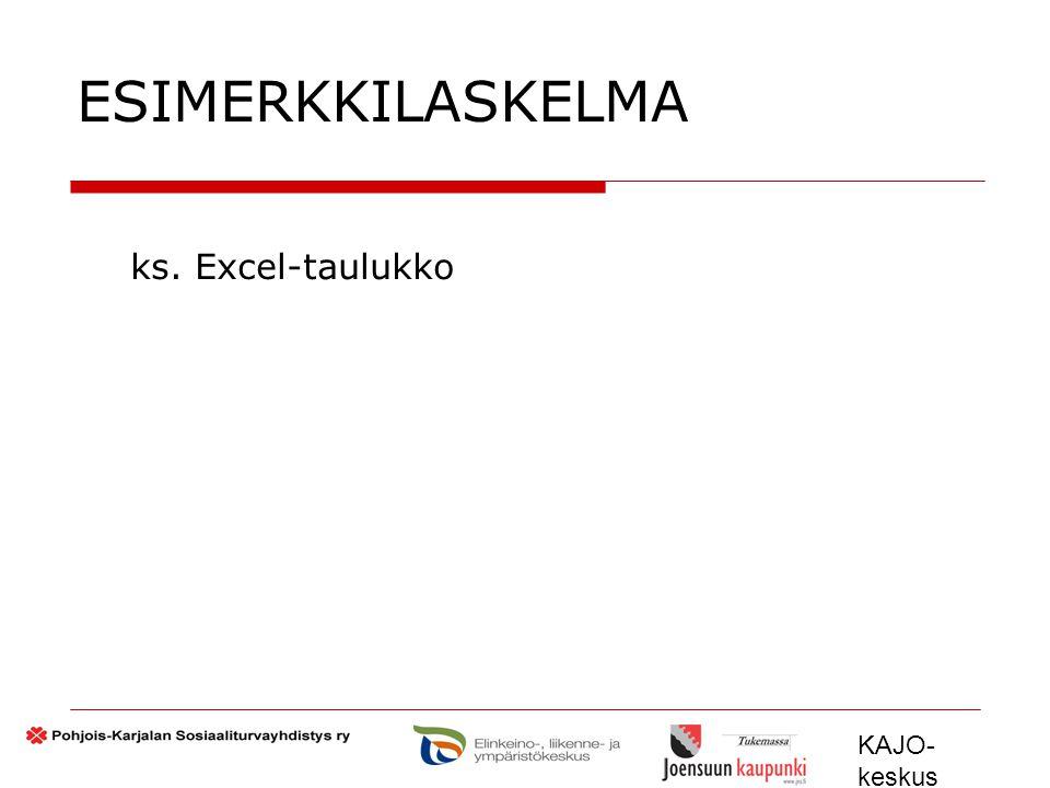 ESIMERKKILASKELMA ks. Excel-taulukko KAJO-keskus 2009 – 2012