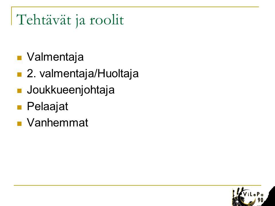 Tehtävät ja roolit Valmentaja 2. valmentaja/Huoltaja Joukkueenjohtaja
