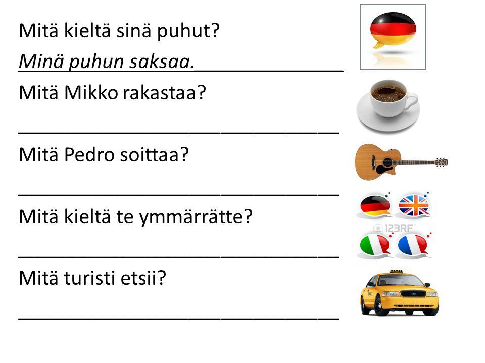 Mitä kieltä sinä puhut. Minä puhun saksaa