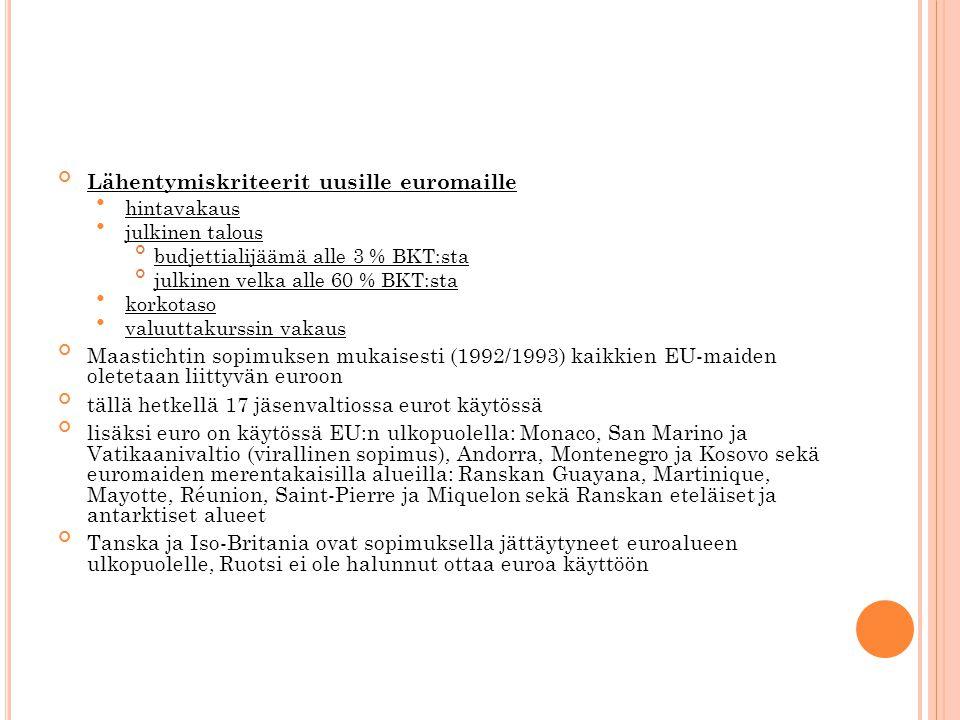 Lähentymiskriteerit uusille euromaille