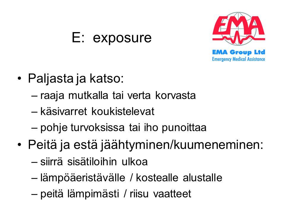 E: exposure Paljasta ja katso: Peitä ja estä jäähtyminen/kuumeneminen: