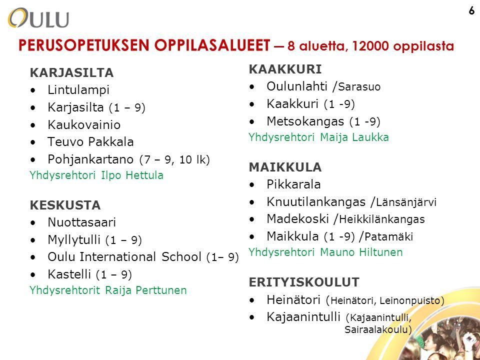 PERUSOPETUKSEN OPPILASALUEET ― 8 aluetta, 12000 oppilasta