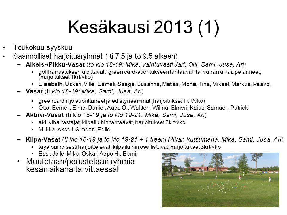 Kesäkausi 2013 (1) Toukokuu-syyskuu. Säännölliset harjoitusryhmät ( ti 7.5 ja to 9.5 alkaen)