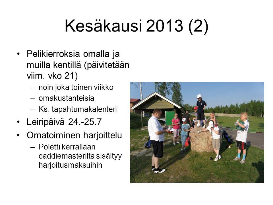 Kesäkausi 2013 (2) Pelikierroksia omalla ja muilla kentillä (päivitetään viim. vko 21) noin joka toinen viikko.