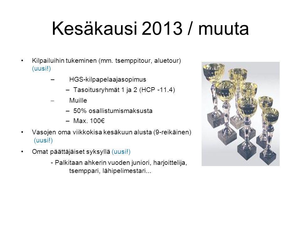 Kesäkausi 2013 / muuta Kilpailuihin tukeminen (mm. tsemppitour, aluetour) (uusi!) HGS-kilpapelaajasopimus.