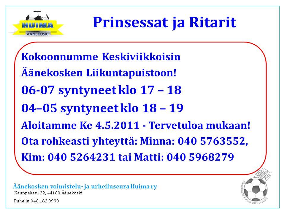 Prinsessat ja Ritarit 06-07 syntyneet klo 17 – 18