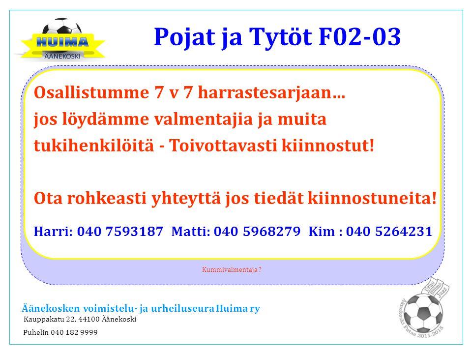 Pojat ja Tytöt F02-03 Äänekoski Futaa 2011-2015 Huima Urho Jazz