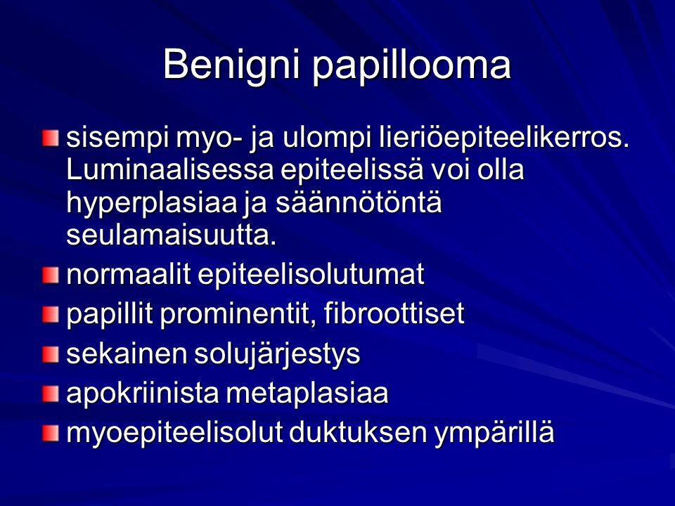 Benigni papillooma sisempi myo- ja ulompi lieriöepiteelikerros. Luminaalisessa epiteelissä voi olla hyperplasiaa ja säännötöntä seulamaisuutta.