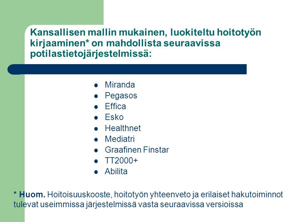 Kansallisen mallin mukainen, luokiteltu hoitotyön kirjaaminen