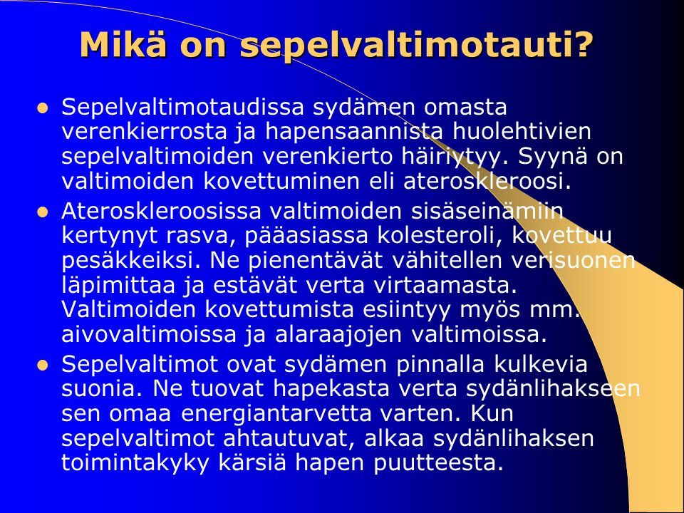 Mikä on sepelvaltimotauti