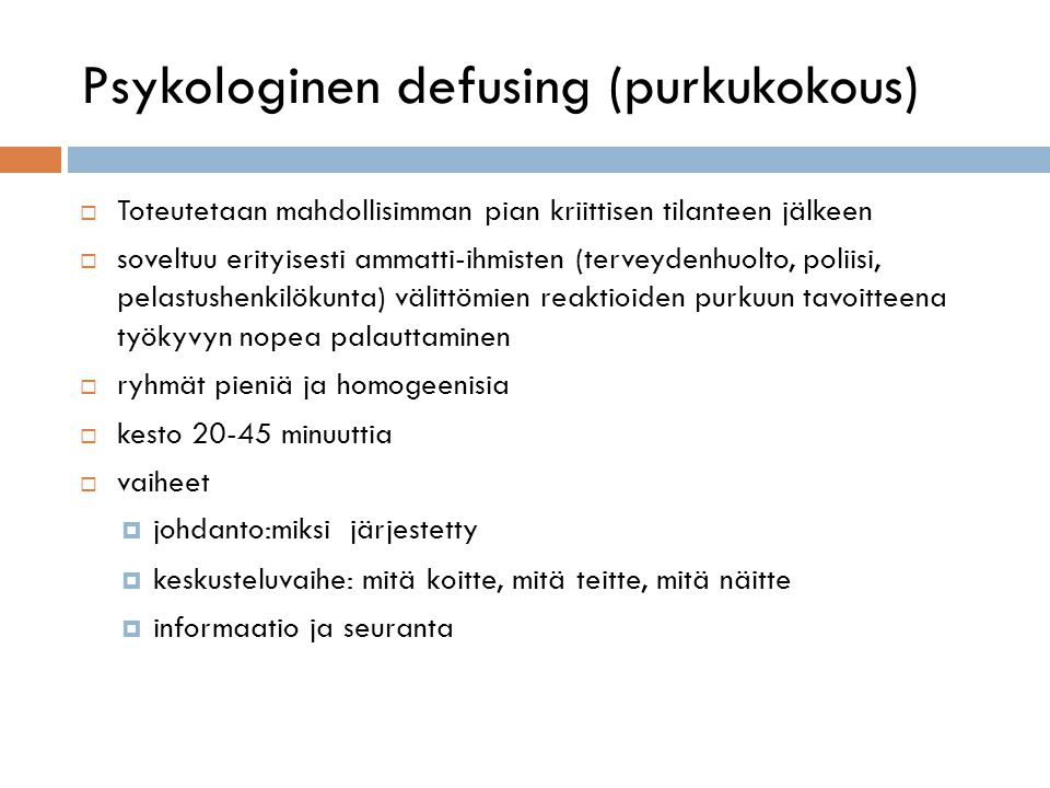 Psykologinen defusing (purkukokous)