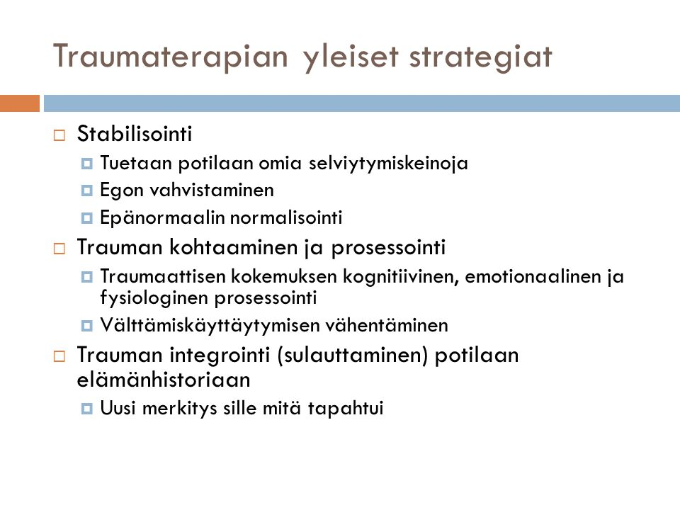Traumaterapian yleiset strategiat