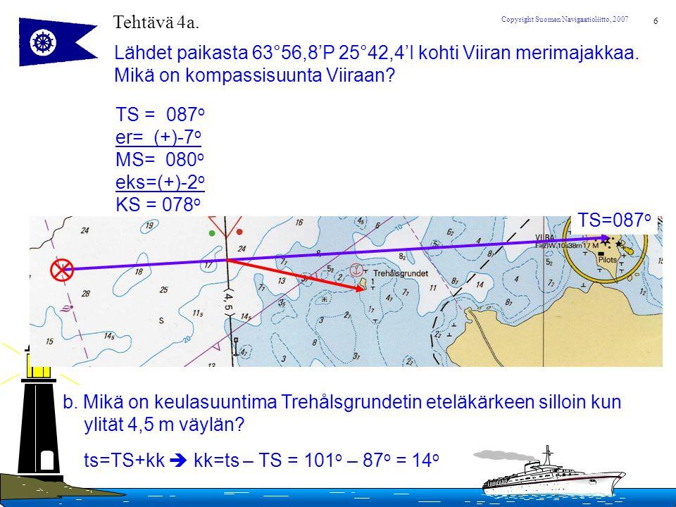 Tehtävä 4a. Lähdet paikasta 63°56,8'P 25°42,4'I kohti Viiran merimajakkaa. Mikä on kompassisuunta Viiraan