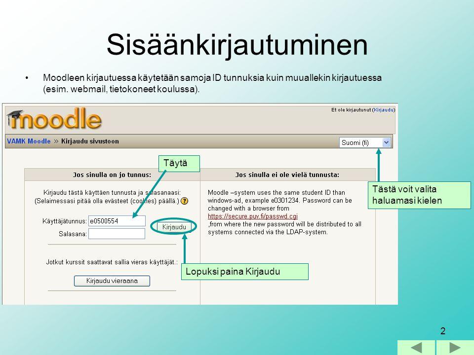 Sisäänkirjautuminen Moodleen kirjautuessa käytetään samoja ID tunnuksia kuin muuallekin kirjautuessa (esim. webmail, tietokoneet koulussa).