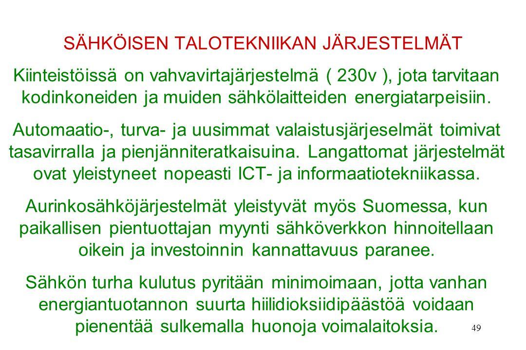 SÄHKÖISEN TALOTEKNIIKAN JÄRJESTELMÄT